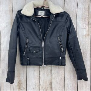 Forever21 faux leather and shearling moto jacket